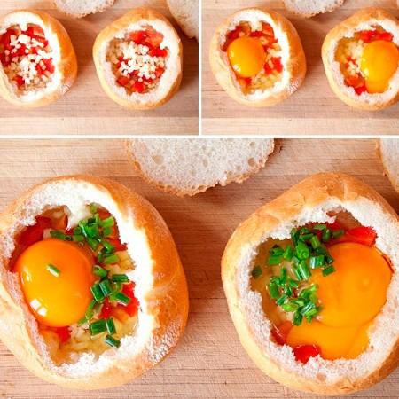 1. Этап. Смажьте булочку всередине маслом, затем смажьте любимым соусом, положите на дно нарезанный мелко перец, вбейте по одному яйцу в каждую булочку. Сверху выложите бекон. Приправьте солью и специями.
