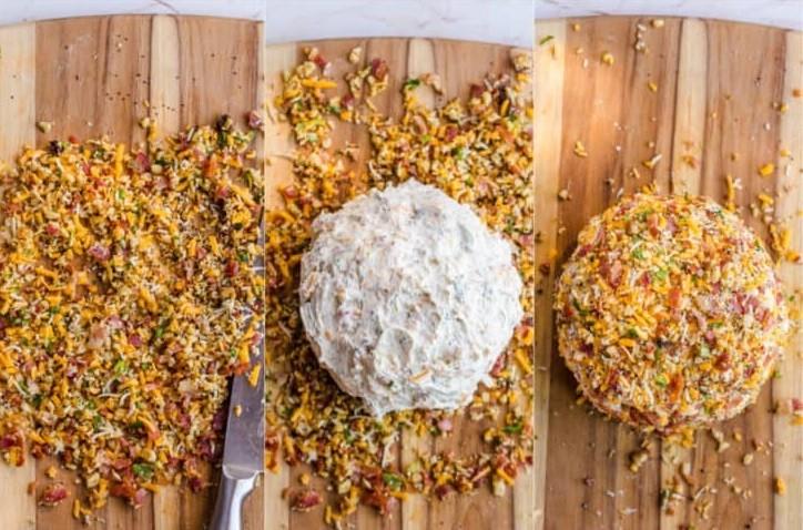 1. Этап. Мелко нарежьте остальные 1/4 бекона, 1/4 стакана сыра чеддер, 1 ст. ложку зеленого лука и 1/4 стакана грецких орехов. Смешайте вместе с 1/4 ч. ложки мака. Выложите эту смесь на разделочную доску.