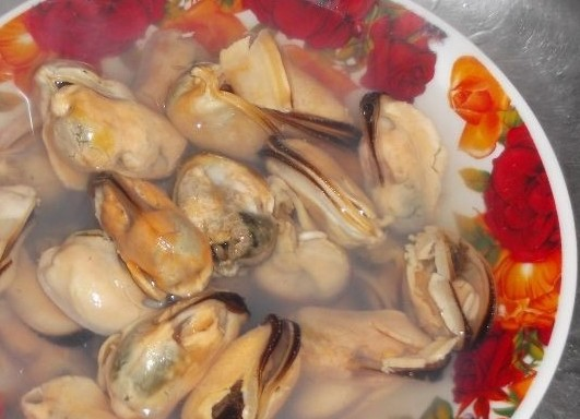 1. Stage. Mussels need to be thawed beforehand; this is best done in the refrigerator on the bottom shelf, but if there is no time, then fill with water at room temperature.