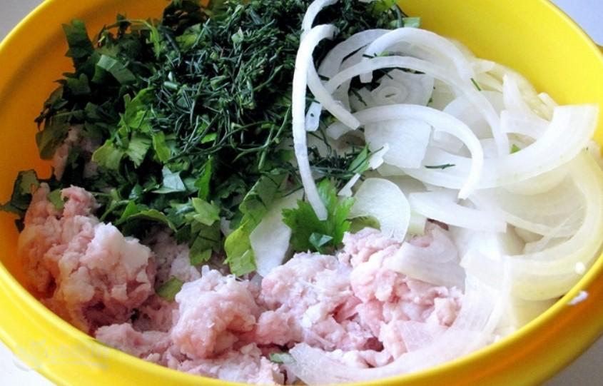 1. Этап. К фаршу добавьте лук нарезанный полукольца, зелень,соль и перец по вкусу. Хорошо перемешайте и влейте молоко, снова перемешайте.