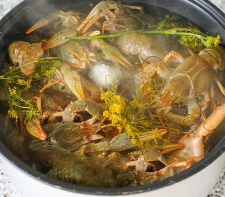 1. Stage. Boil water in a separate pan and pour it on the crayfish. Cover and cook in soup mode for 40 minutes.