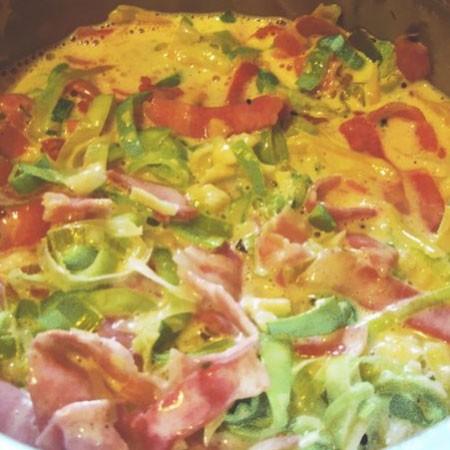 1. Этап. К яйцам добавьте бекон с луком и перемешайте.
