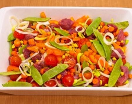 1. Этап. Лук порей нарежьте кружочками, перец соломкой, морковь мелкими кубиками, а помидоры крупными дольками. Горошек берите мороженный или в стручках. Овощи выложите на мясо, посолите и поперчите, немного перемешайте и поставьте в разогретую духовку до 180 на 50 минут, если необходимо накройте фольгой чтобы овощи не подгорели.