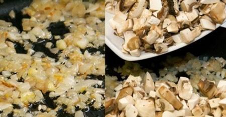 1. Этап. Обжарить до прозрачности лук, добавить грибы и выпарить выделившейся сок 5 минут.
