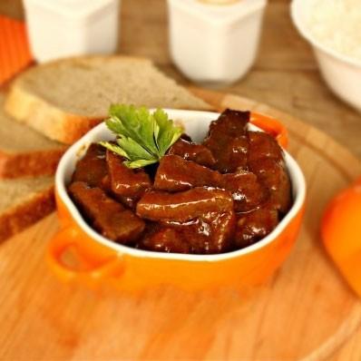 1. Этап. <strong>Свиная печень в томатно соевом соусе </strong>готова.