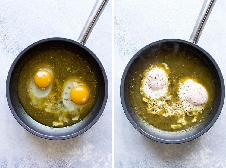 1. Stage. In a 8-inch non-stick skillet, bring the salsa verde to a simmer. Crack the eggs into the simmering salsa. Cover the skillet with a lid and cook the eggs until the whites are set, but the yolks are still runny. This should take less than five minutes.
