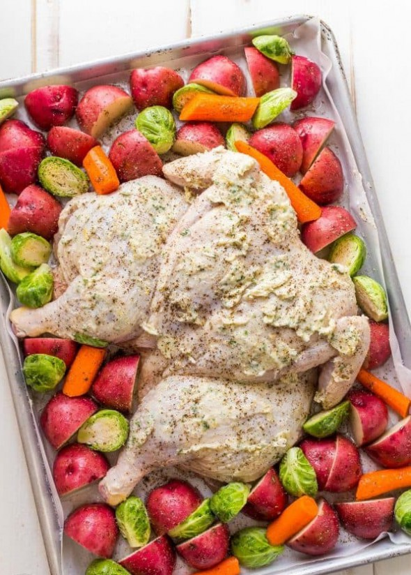 1. Stage. Roast until skin is crisp and an instant-read thermometer inserted into thickest part of breast reads 165 degrees F, about 35 minutes. Let stand 5 minutes before cutting chicken into 8 pieces.