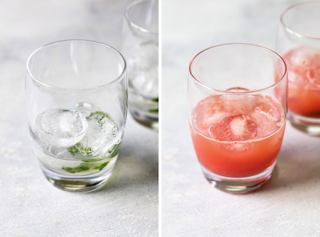 1. Stage. Add the rum and then pour the watermelon juice through a fine-mesh strainer into each glass (1/4 cup for each).