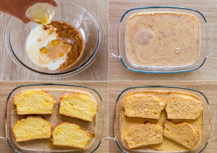 1. Этап. В приготовленную яичную смесь обмакните кусочки хлеба, оставьте их на несколько секунд чтобы они немного впитали смесь. Обжарьте гренки на разогретой сковороде со сливочным маслом. Обжарьте с обеих сторон до румяной корочки по 3-4 минуты с каждой стороны.