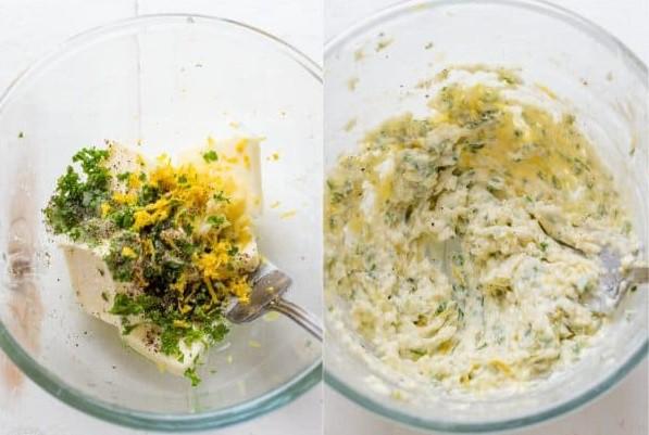 1. Этап. Смешайте соль, эстрагон, перец и перец в небольшой миске. Вымешайте масло. Проведите пальцами под куриной кожей и вотрите пасту из эстрагона под кожу. Уложите ломтики лимона под кожу одним слоем.